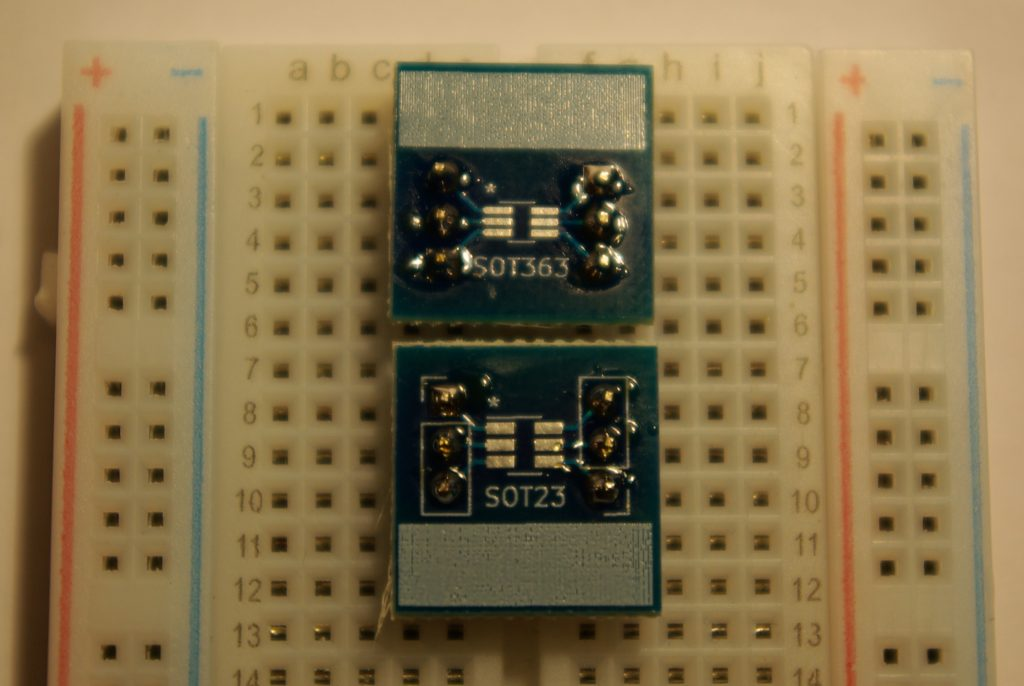 SOT363 and SOT23 breakout boards in a breadboard